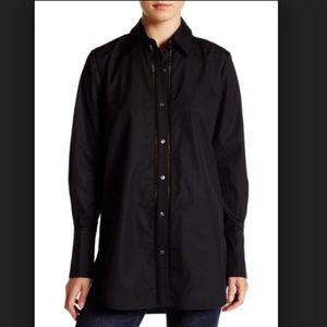 Vince Black Long Sleeve Ladder Stitch Button Down